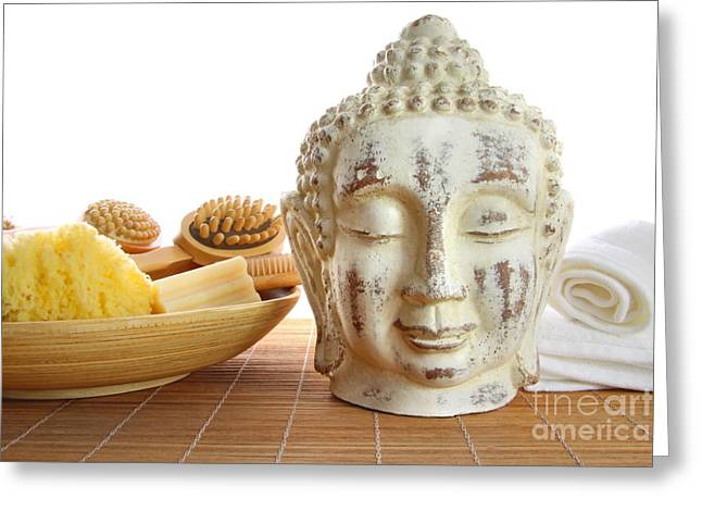 Accessory Greeting Cards - Bath accessories with buddha statue Greeting Card by Sandra Cunningham