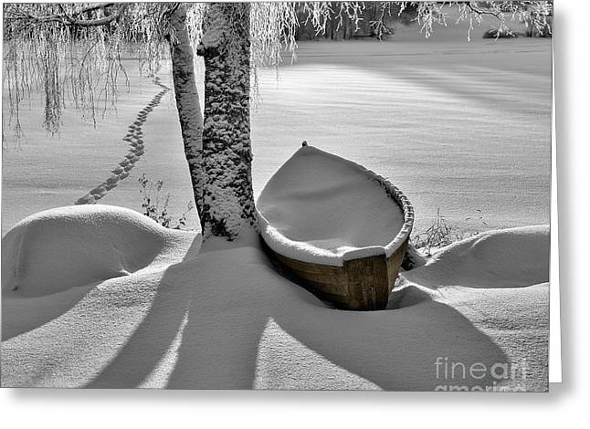 Lakescape Greeting Cards - Bath and Snowy Rowboat Greeting Card by Ari Salmela