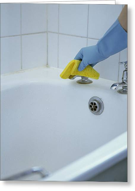 Tap Greeting Cards - Bath Tap Cleaning Greeting Card by Cristina Pedrazzini