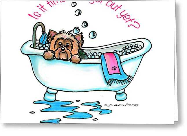 Puppies Mixed Media Greeting Cards - Bath time Greeting Card by Catia Cho