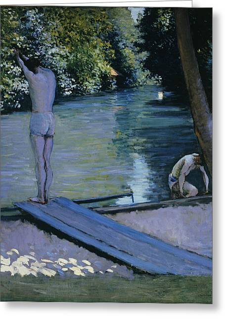 South Of France Greeting Cards - Bather about to plunge into the River Yerres Greeting Card by Gustave Caillebotte