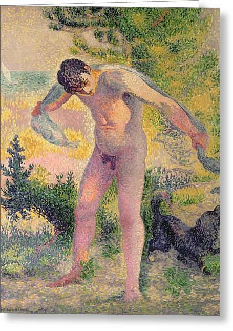 Bather Drying Himself At St Tropez Greeting Card by Henri-Edmond Cross