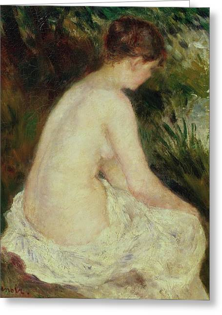 Female Body Greeting Cards - Bather Greeting Card by Pierre Auguste Renoir