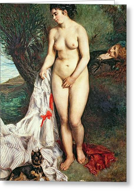 Swimming Dog Greeting Cards - Bather with a Griffon dog Greeting Card by Pierrre Auguste Renoir