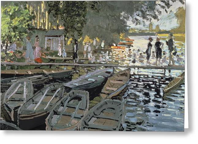 Bathing Suit Greeting Cards - Bathers at La Grenouillere Greeting Card by Claude Monet