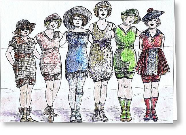 Bathing Beauties Greeting Card by Mel Thompson