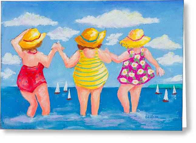 Swimsuits Pastels Greeting Cards - Bathing Beauties Greeting Card by Pat Olson