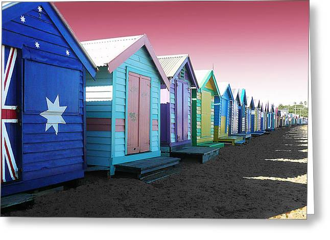Bathing Boxes Brighton Beach Greeting Card by Roz McQuillan