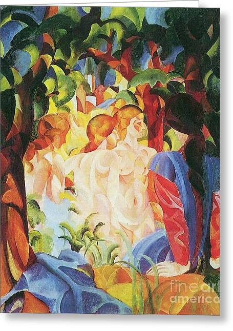 Macke Greeting Cards - Bathing girls with Town Background Greeting Card by Pg Reproductions