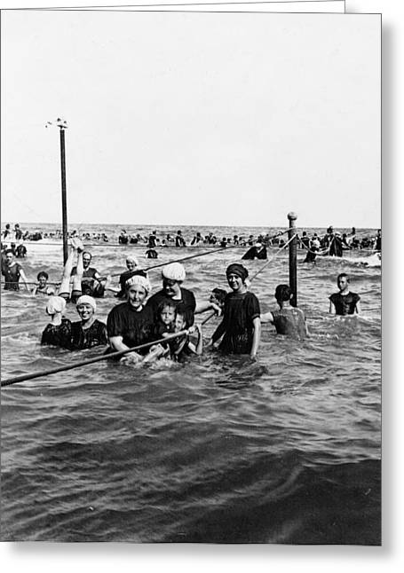 Galveston Greeting Cards - Bathing in the Gulf of Mexico - Galveston Texas  c 1914 Greeting Card by International  Images