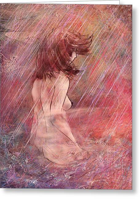 Bathing In The Rain Greeting Card by Rachel Christine Nowicki