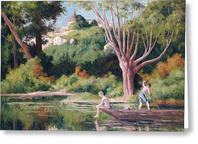 Pastimes Greeting Cards - Bathing Greeting Card by Maximilien Luce