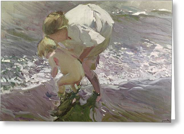 Dipping Greeting Cards - Bathing on the Beach Greeting Card by Joaquin Sorolla y Bastida