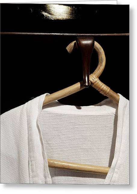 Coat Hanger Greeting Cards - Bathrobe Hanging Around Bamboo Hanger Greeting Card by Kantilal Patel