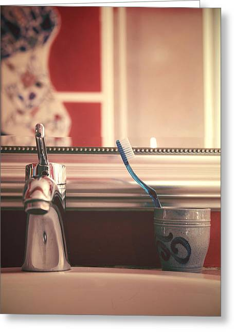 Laundering Greeting Cards - Bathroom Greeting Card by Joana Kruse