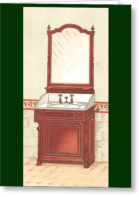 Bathroom Picture Wash Stand One Greeting Card by Eric Kempson