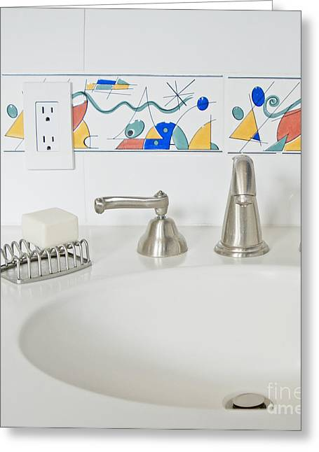 Bathroom Sink Greeting Card by Marlene Ford
