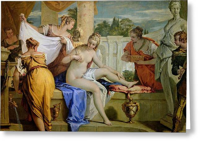 Jewellery Greeting Cards - Bathsheba Bathing Greeting Card by Sebastiano Ricci