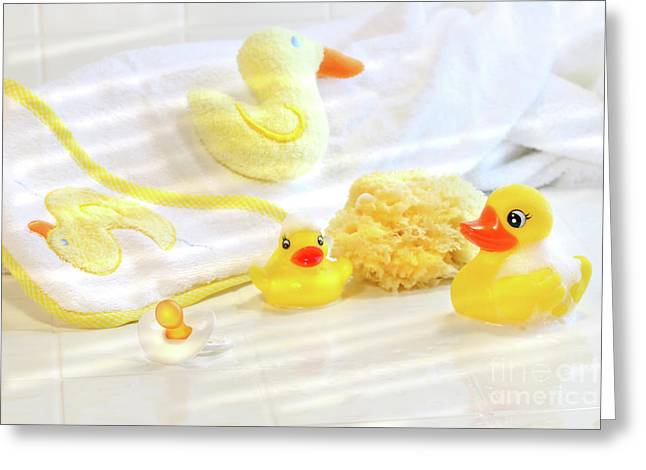 Ducky Greeting Cards - Bathtime for baby Greeting Card by Sandra Cunningham