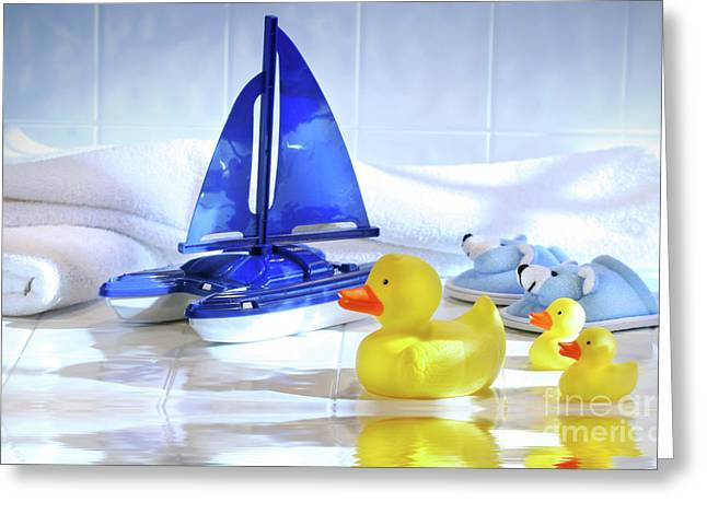 Blue Sailboat Greeting Cards - Bathtime fun  Greeting Card by Sandra Cunningham