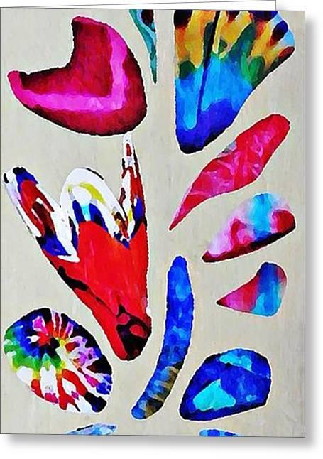 Batik Bouquet Greeting Card by Sarah Loft