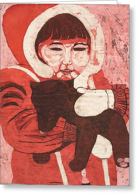 Brown Tapestries - Textiles Greeting Cards - Batik -Girl w Bear- Greeting Card by Lisa Kramer