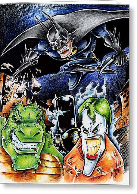 Funny Police Comic Greeting Cards - Batman 2 Greeting Card by Big Mike Roate