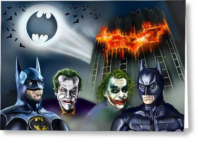 Christian Bale Greeting Cards - Batman 89 vs The Dark Knight 08 Greeting Card by Vinny John Usuriello