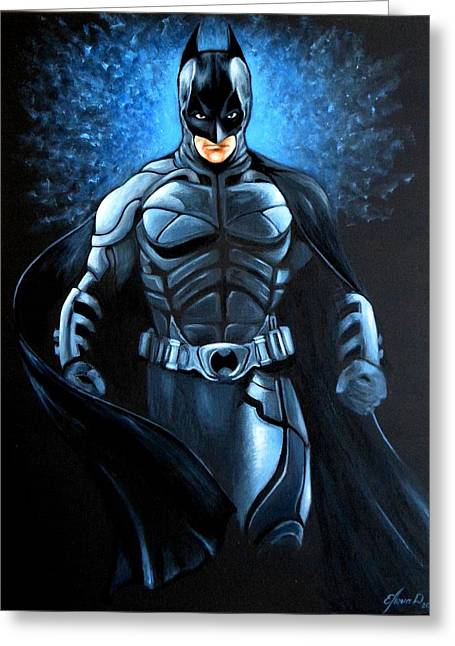 Dc Comics Paintings Greeting Cards - Batman Dark Knight   Greeting Card by Lena Day