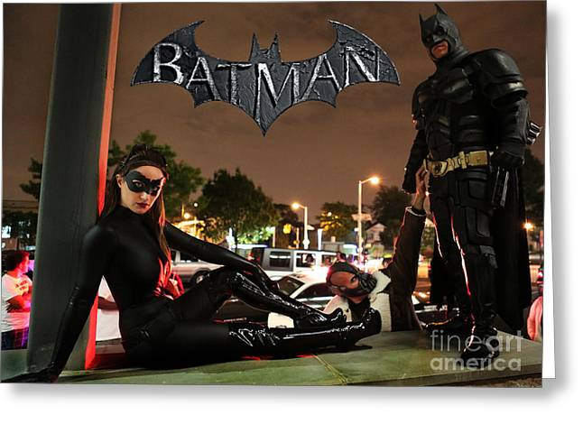 Outfit Greeting Cards - Batman The Dark Knight Rises Newark New Jersey Premiere Event II Greeting Card by Lee Dos Santos