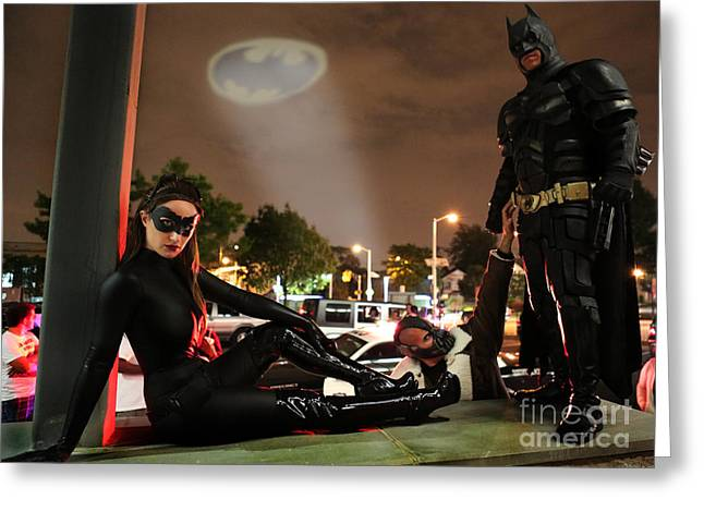 Catwoman Photographs Greeting Cards - Batman The Dark Knight Rises Newark New Jersey Premiere Event  Greeting Card by Lee Dos Santos