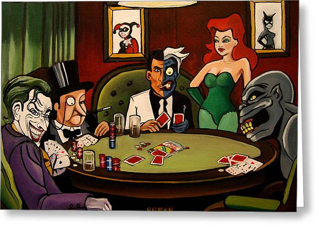 Cat Woman Greeting Cards - Batman Villains Playing Poker Greeting Card by Emily Jones