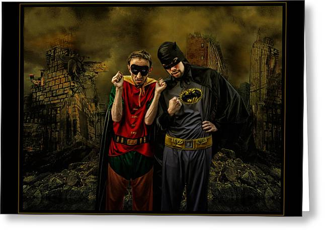 Comic Strip Greeting Cards - Batman y Robito Greeting Card by Raul Villalba