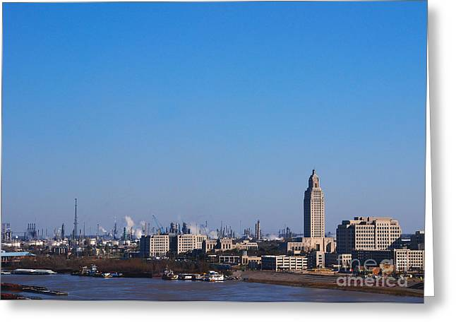 Mississippi River Scene Greeting Cards - Baton Rouge Skyline Louisiana  Greeting Card by Susanne Van Hulst