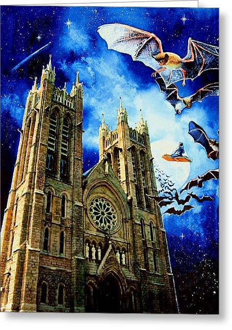 Book Cover Illustrator Greeting Cards - Bats In The Belfry Greeting Card by Hanne Lore Koehler