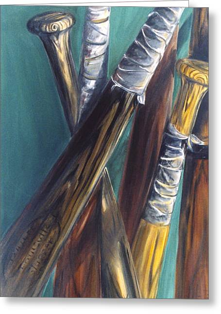 Baseball Paintings Greeting Cards - Bats Greeting Card by Redlime Art