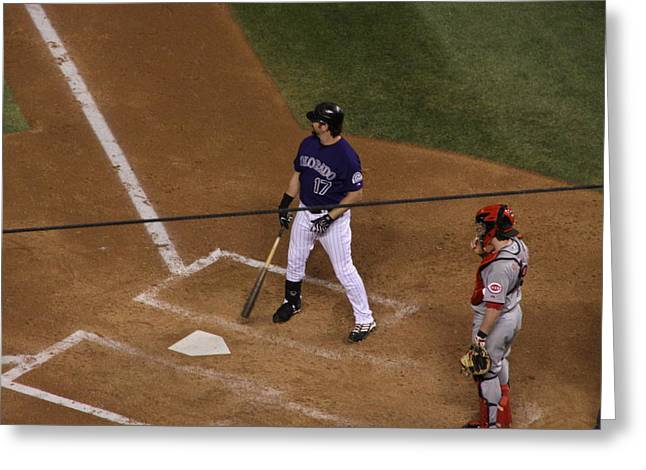 Todd Helton Greeting Cards - Batter Up Greeting Card by Cynthia  Cox Cottam