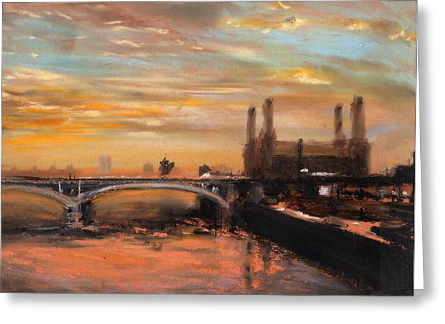 London Pastels Greeting Cards - Battersea Dawn Greeting Card by Paul Mitchell