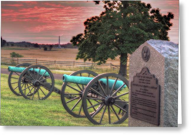 Confederate Monument Greeting Cards - Battery F Cannon Gettysburg Battlefield Greeting Card by Randy Steele