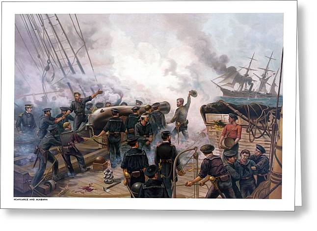 Naval History Greeting Cards - Battle Between Kearsarge And Alabama Greeting Card by War Is Hell Store