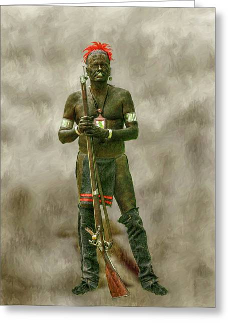 Six Nations Greeting Cards - Battle of Bushy Run Reenactor Portrait Greeting Card by Randy Steele