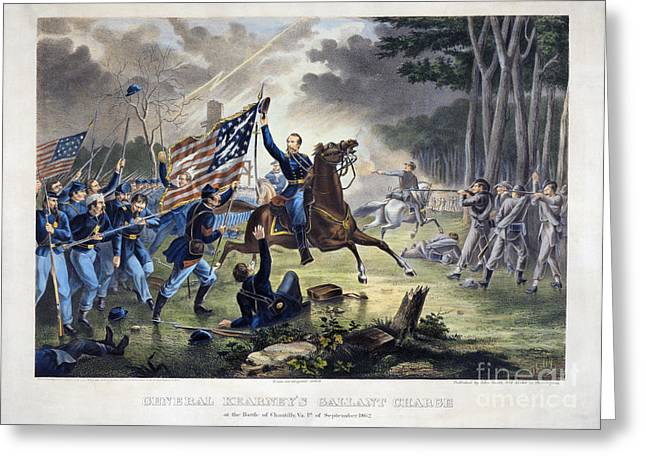 Confederate Flag Greeting Cards - Battle Of Chantlly, 1862 Greeting Card by Granger