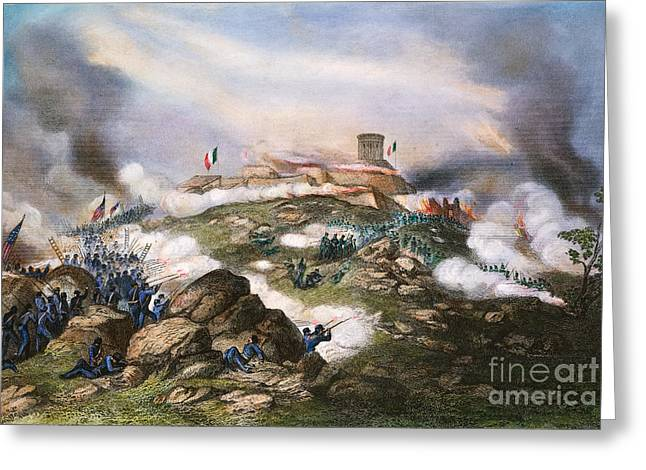 Mesoamerica Greeting Cards - Battle Of Chapultepec, 1847 Greeting Card by Granger