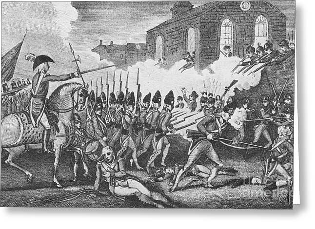 Battle Of Concord Greeting Cards - Battle Of Concord, 1775 Greeting Card by Photo Researchers