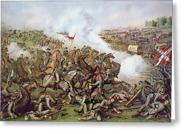 Warfare Greeting Cards - Battle of Five Forks Virginia 1st April 1865 Greeting Card by American School