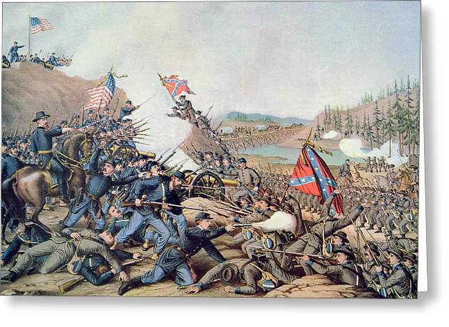Bayonet Paintings Greeting Cards - Battle of Franklin November 30th 1864 Greeting Card by American School