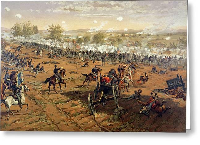 Warfare Greeting Cards - Battle of Gettysburg Greeting Card by Thure de Thulstrup