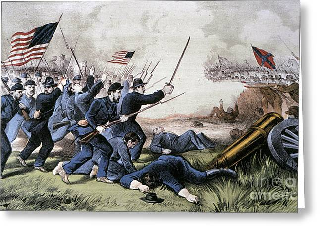 Confederate Flag Greeting Cards - Battle Of Jonesboro, 1864 Greeting Card by Granger