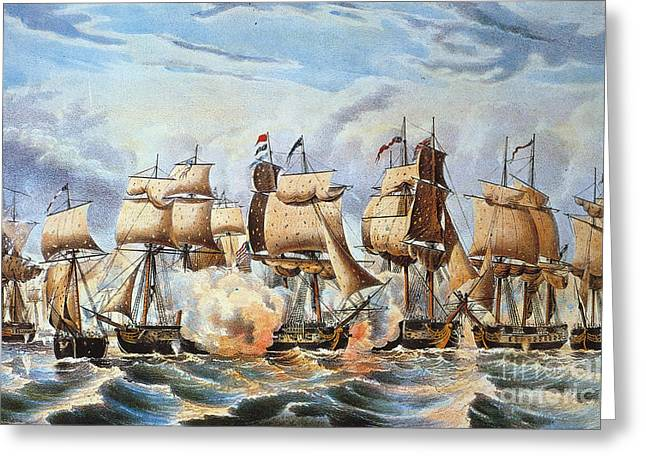 1813 Greeting Cards - Battle Of Lake Erie, 1813 Greeting Card by Granger