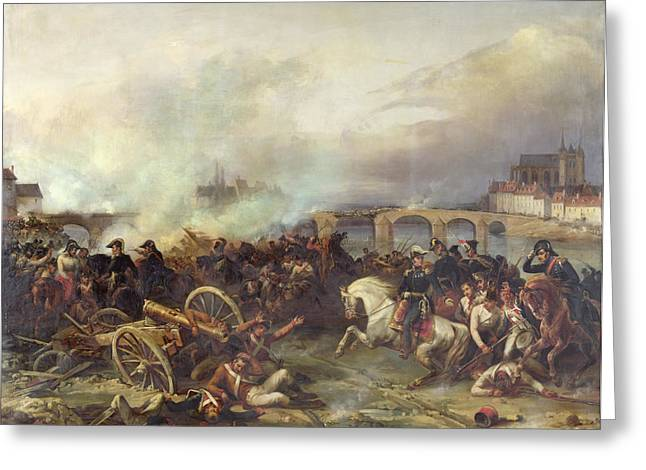 Austria Paintings Greeting Cards - Battle of Montereau Greeting Card by Jean Charles Langlois
